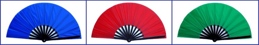 Photo of three open folding fans, with black bamboo ribs, in royal blue, red, and kelly green.
